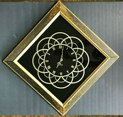 Vintage Large Mid Century Atomic Gold Black Mirrored Wall Clock Germany