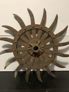 John Deere H466-d Spiked Rotary Hoe Iron Cultivator Wheel 19 Rustic Steampunk