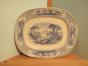 Vintage 1800and039s Vintage Transfer Ware Country Scenery Pattern Castle And Cows