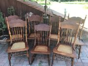 Etched Back Caned Seat Oak Dining Chairs And Womanand039s Rocker Set