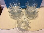 Fostoria American Clear Glass Cups/saucer Sets 5 Nice