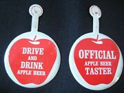 Rare Original Vintage Drink And Drive Apple Beer Pin Button Pinbacks Lot Of 2