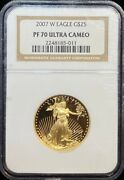 2007 W American Eagle 25 Dollar Gold Coin Ngc Pf 70 Ultra Cameo