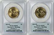 2014-p And 2014-d Warren G. Harding Presidential Dollar 1 Ms 65 Pcgs Position A