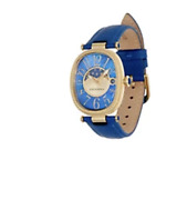 Judith Ripka Stainless Steel Leather Strap Moon Phase Watch Gold Clad Box Pillow