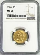 1906 Gold United States 5 Liberty Head Half Eagle Coin Ngc Mint State 65
