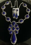 Gilbert Tom -navajo - Large Lapis Necklace And Earring Set Sterling Silver