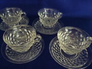 Set Of 4 Vtg Fostoria American Tea Cup And Saucer Clear Cube Flared Coffee Punch