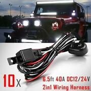 10pcs Wiring Harness Kit 40a Switch Relay Harness Kit Fit Two Set Led Light Bar