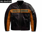Bill Goldberg Davidson Black Motorcycle Jacket 100 Real Leather Biker Moto Gear