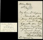Superb And Rare President Chester A. Arthur Handwritten And Signed Letter No Date