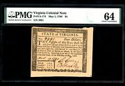 Us Colonial Currency Virginia Note Fr Va-174 May 1 1780 4 Pmg 64 Choice Unc
