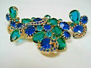 Rare Vintage Sphinx Blue And Green Rhinestones Brooch And Matching Earrings