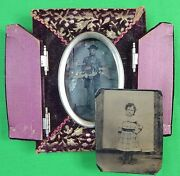 Antique Old Frame 2 Tintype Picture Photo Soldier Girl