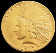 1913 S Gold Us 10 Indian Head Eagle Coin About Uncirculated Condition