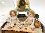 Grouping Of Antique German Bisque Dolls And Miniature Bath Furnishings W/glassdome