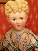 """Antique Grand Size 26"""" Parian Lady With Molded Ribbon Neck Antique Body And Dress"""