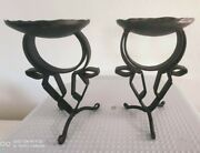 Two Old Wrought-iron Candlesticks. Deux Anciens Bougeoirs En Fer Forge