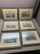 Set Of 6 Antique Framed Tombleson And Co. Hand Colored Engraving Prints
