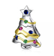 New Christmas Tree Cz Charm For Bracelet Green Blue Gold Genuine Sterling Silver