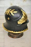 Medieval German Helmet Ancient Armor Costume With Wooden Stand