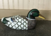 Vintage 1950-60s Decoy Hand Carved And Painted Glass Eye Wood Mallard Duck