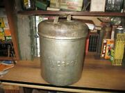 Antique Ives Ice Cream 10 Qt Nickel Steel Containner Bucket Milk Dairy Can Pail