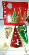 Gorham Holiday Set Of 3 Handpainted Glass Christmas Tree Oil Lamps New Old Stock