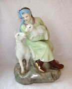 Chinese Woman With Sheeps Wucai Porcelain Statue Figurine Vintage 1950s China