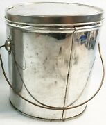 Vintage 6 Shiny Tin Berry Bucket/lunch Pail W/lid And Bail Handle