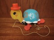 Vintage 1962 Fisher Price Tip Toe Turtle 773 Pull Toy With Working Bell Sound