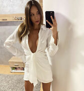 Summer White Beach Shirt Mini White Lace Up Dress Holiday Outfit