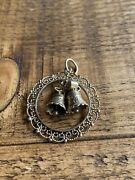 Vintage 9ct Gold Christmas Bells And Wreath Pendant
