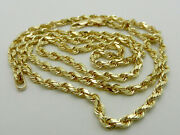 Solid 14k Yellow Gold Rope Style Chain Necklace 27.6 Grams 26 Long