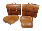 New Pure Leather Saddle Bags + Front And Rear Seat Fit For Royal Enfield Classic