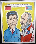 Fidel Castro And Xi Jinping Havana Cuba Drawing Of Cuban China Leaders By Lacoste