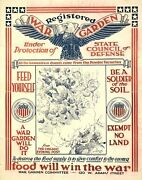 Wwi Poster Registered War Garden Under Protection Of State Council Of Defense /