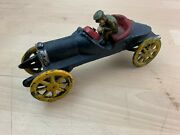 Cast Iron Racing 7.5 Retro Vintage Black Yellow Roadster With Driver Race Car