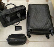 Rare Tumi Ticon Black Leather 4 Wheel Carry-on Wallet, Toiletries And Briefcase