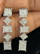 Pave 2.78 Tcw Princess Diamonds Invisible Set Dangle Earrings In 585 14k Gold