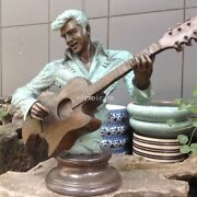 23and039and039 Bronze Sculpture Home Decorate Musician Elvis Presley Play Guitar Statue