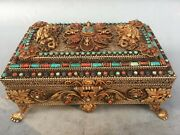 10and039and039 Tibet Copper Silver Gold Turquoise Red Coral Beast Flower Jewel Case Boxes