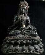 24and039and039 Old Bronze Red Copper Gold Tibet Buddhism Hold Vajra Vajrasattva Buddha
