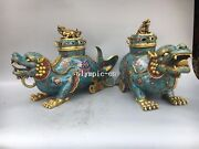 Pair 18and039and039 Red Copper Cloisonne Enamel Beast Foo Dogs Lion Kylin Incense Burner