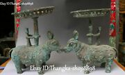 12 Old Bronze Ware Dragon Pixiu Brave Troops Man Candle Stick Oil Lamp Pair