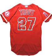 Mike Trout Los Angeles Angels Signed Authentic On Field Nike Red Jersey Mlb Auth