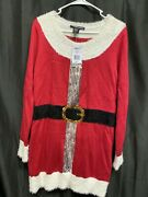 United States Sweaters Ugly Christmas Mrs Santa Claus Dress Faux Fur Sequin L