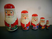 Vintage Hand Painted Wood Russian Style Santa Nesting Dolls Set 5 Nests W/baby