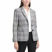 Women Plaid Suit Separate Two-button Blazer Ivory Size 12 Nwt