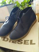 Diesel Menand039s 10 India Ink Leather Sandman Sneaker-boots W/ Translucent Rubber...